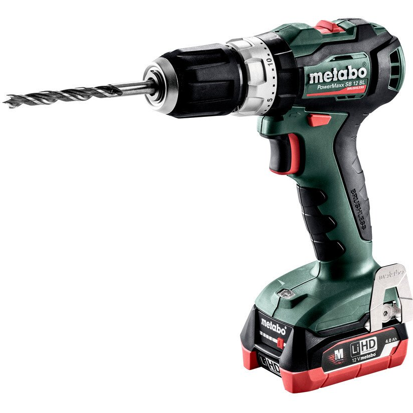 Metabo Powermaxx SB12BL 12v Brushless Combi Drill with 2 x 4Ah Batteries in Case