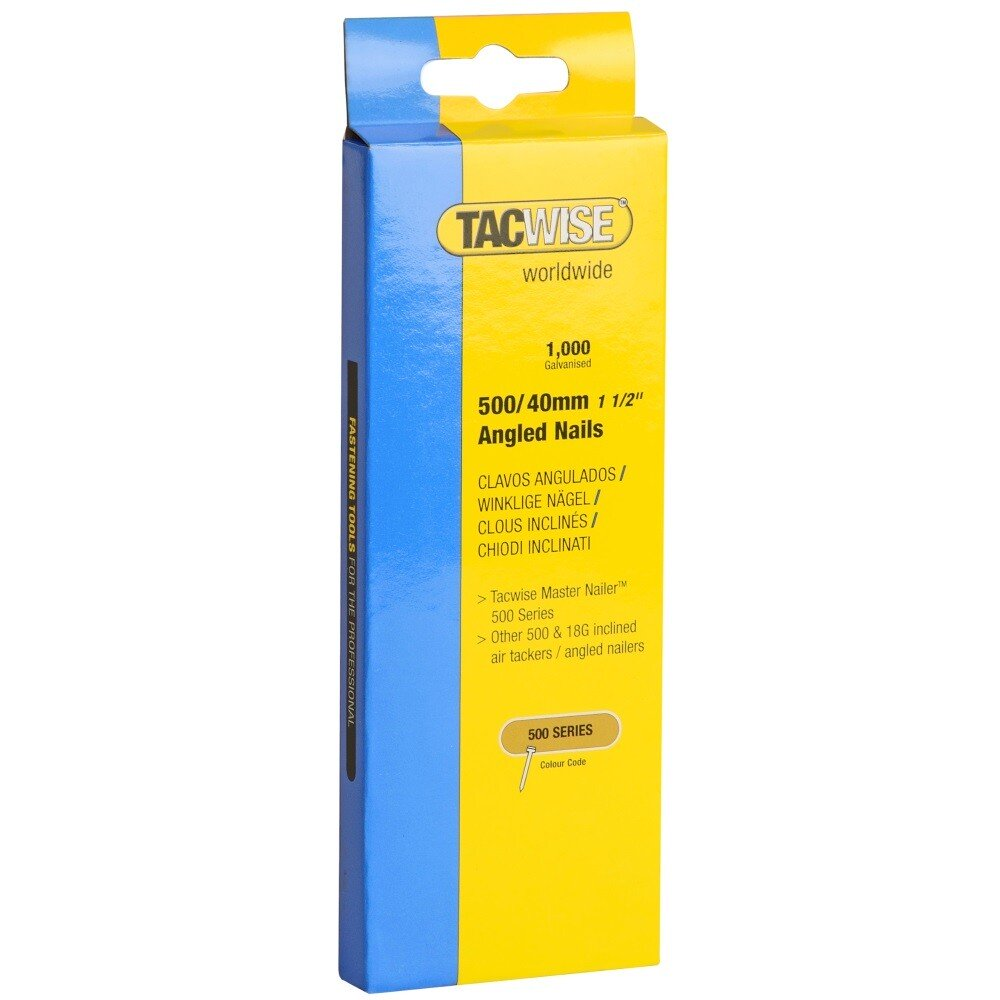 Tacwise 0483 500/40mm 18G Angled Nails Galvanised (Box of 1000)