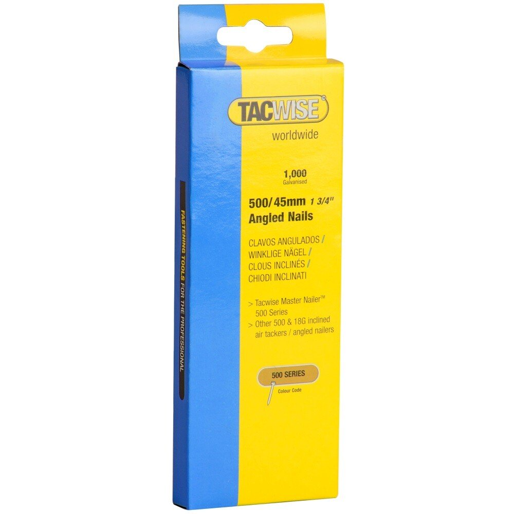 Tacwise 0484 500/45mm 18G Angled Nails Galvanised (Box of 1000)