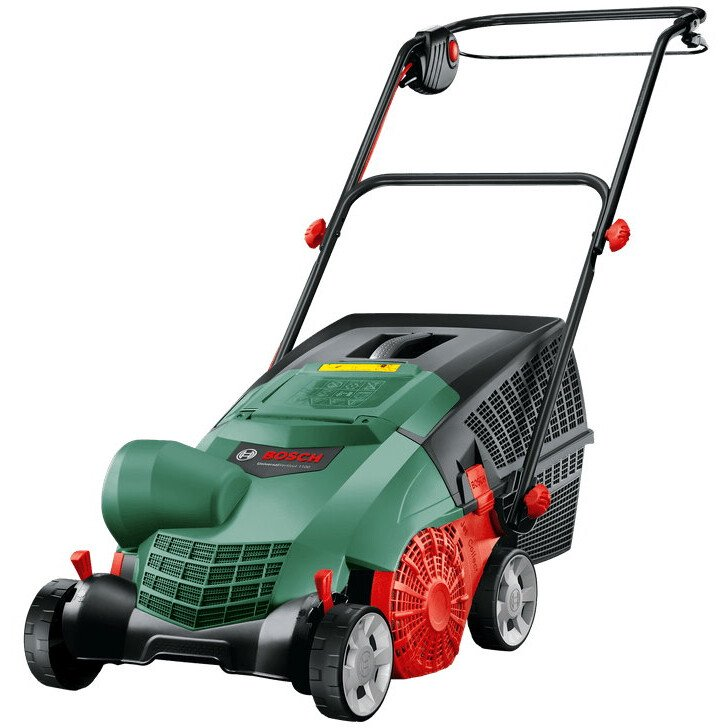 Bosch Universal Verticut 1100 Electric Verticutter Effective Cutting and Removal of Thatch Build-up in the Lawn