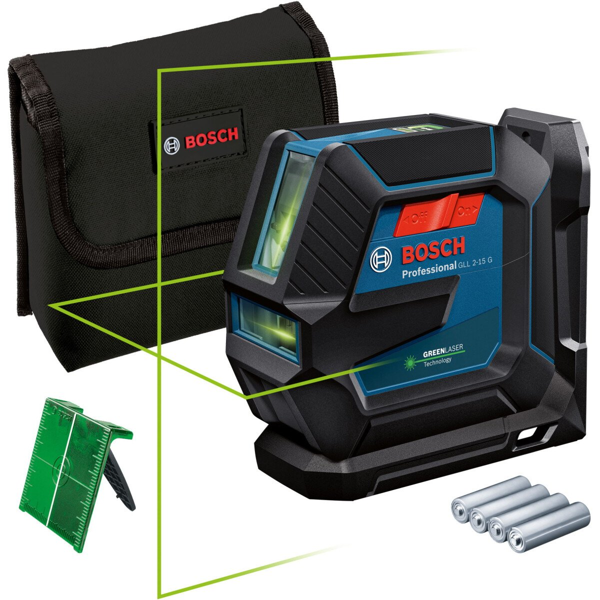 Bosch GLL 2-15 G + LB 10 Greem Beam Line Laser 15m With Target Plate and Pouch