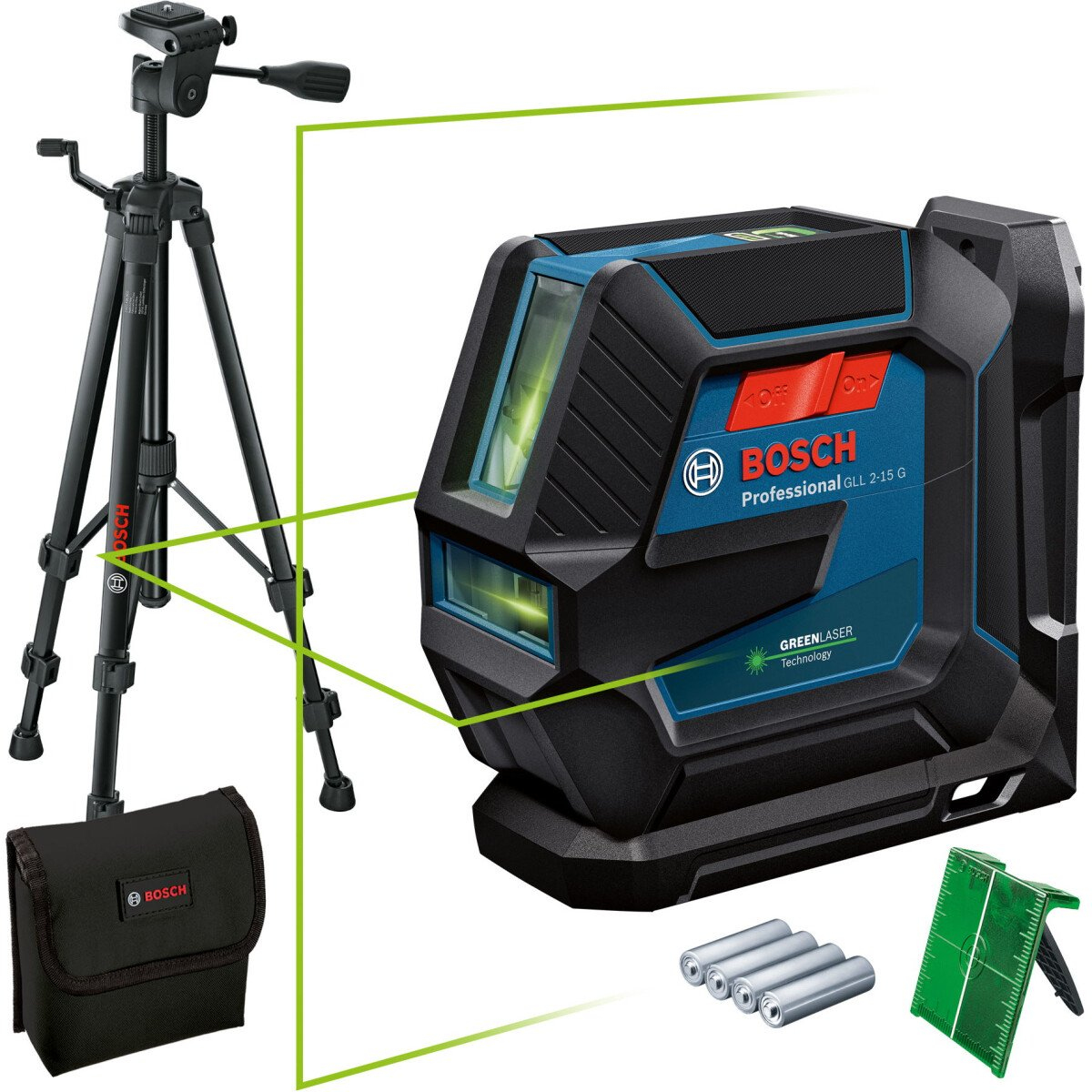 Bosch GLL 2-15 G + LB 10 + BT 15 Greem Beam Line Laser 15m With Target Plate, Tripod and Pouch