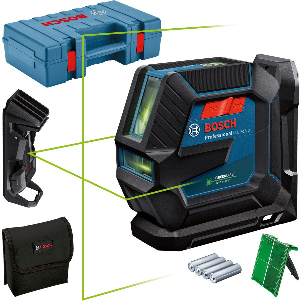 Bosch GLL 2-15 G + LB 10 + Ceiling Clip Greem Beam Line Laser 15m With Target Plate in Carry Case