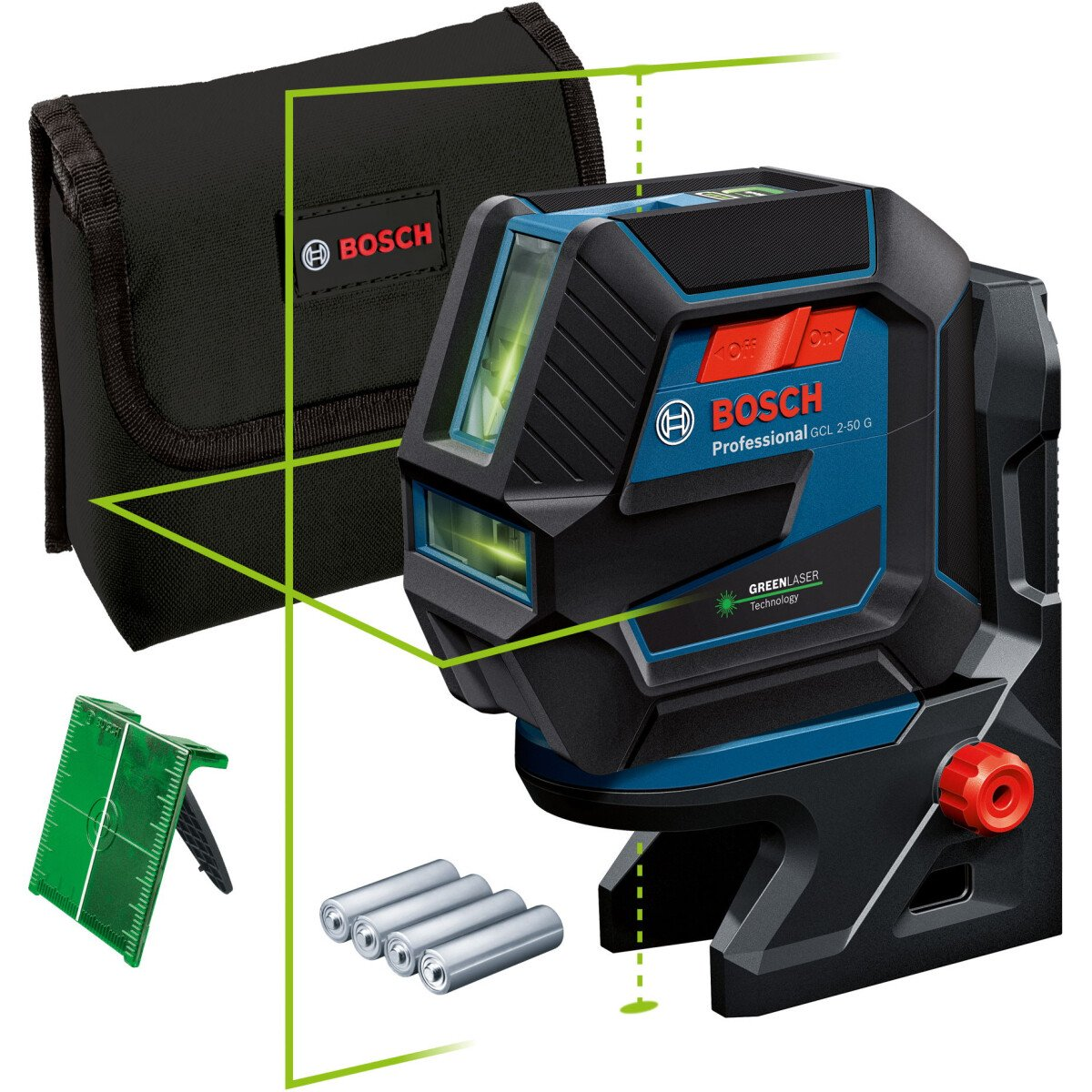 Bosch GCL 2-50 G + RM 10 Green Beam Combi Laser 50m with Target plate and Pouch