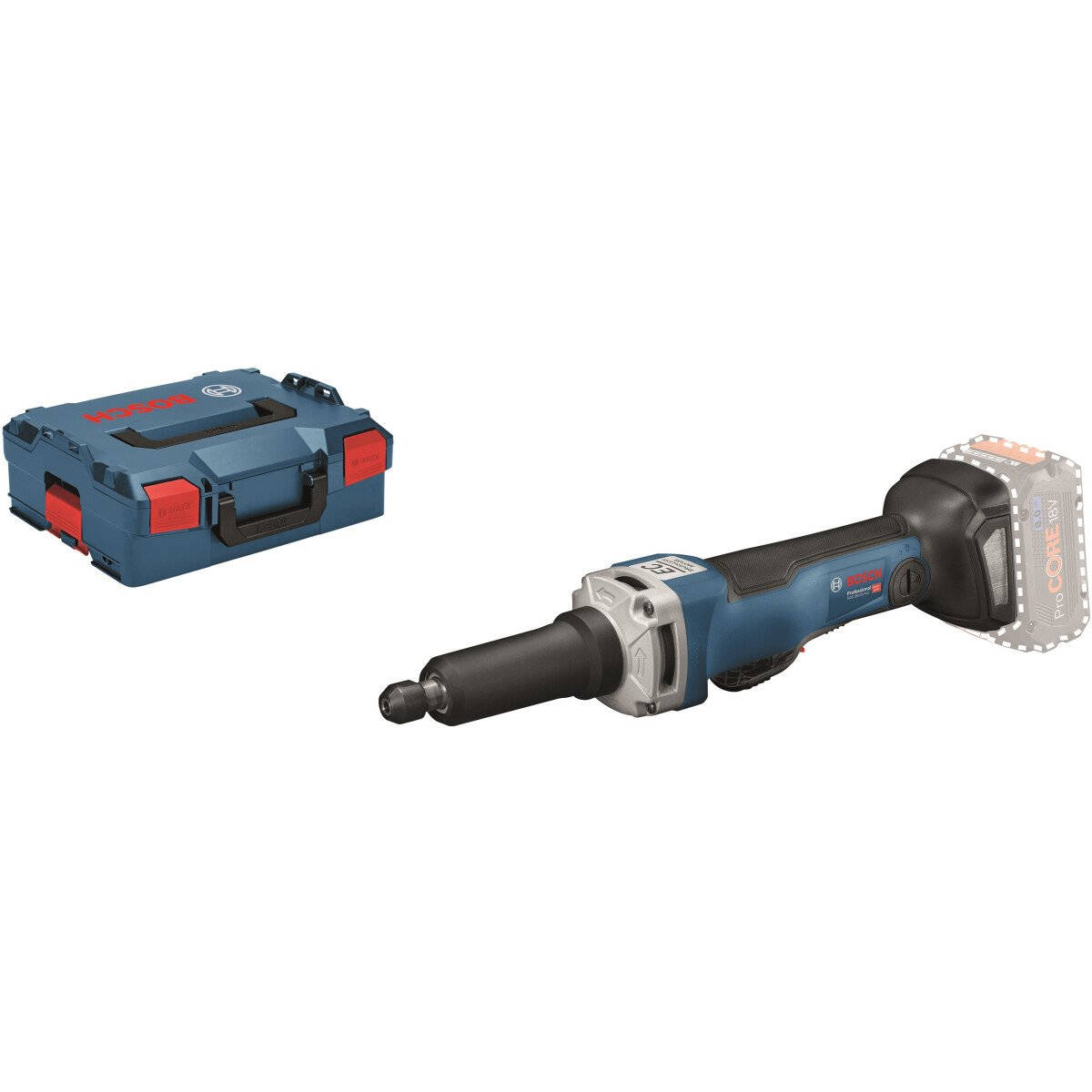 Bosch GGS 18 V-23 LC Body Only 18v Brushless Straight Grinder with Paddle Switch in L-Boxx