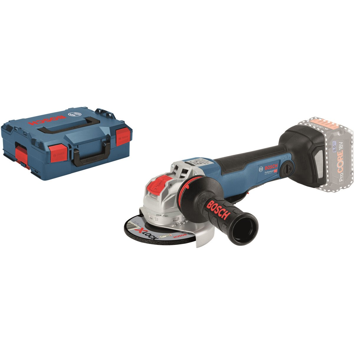 Bosch GWX 18V-10 PC Body Only 18v Brushless X-LOCK Connected 125mm Angle Grinder with Paddle Switch in L-Boxx