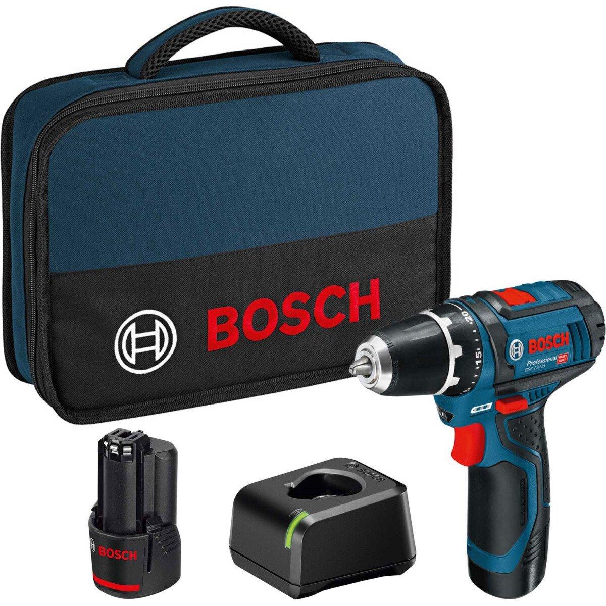 Bosch GSR 12V-15 12V Drill/Driver with 2x 2.0Ah Batteries in Tool Bag