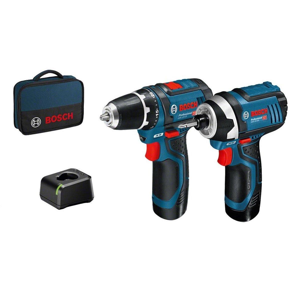 Bosch GSB 12V-15 Combi Drill +GDR 12V-105 Impact Driver 12V 2 Speed Combi Drill+Impact Driver with 2x 2.0Ah Batteries in Bag