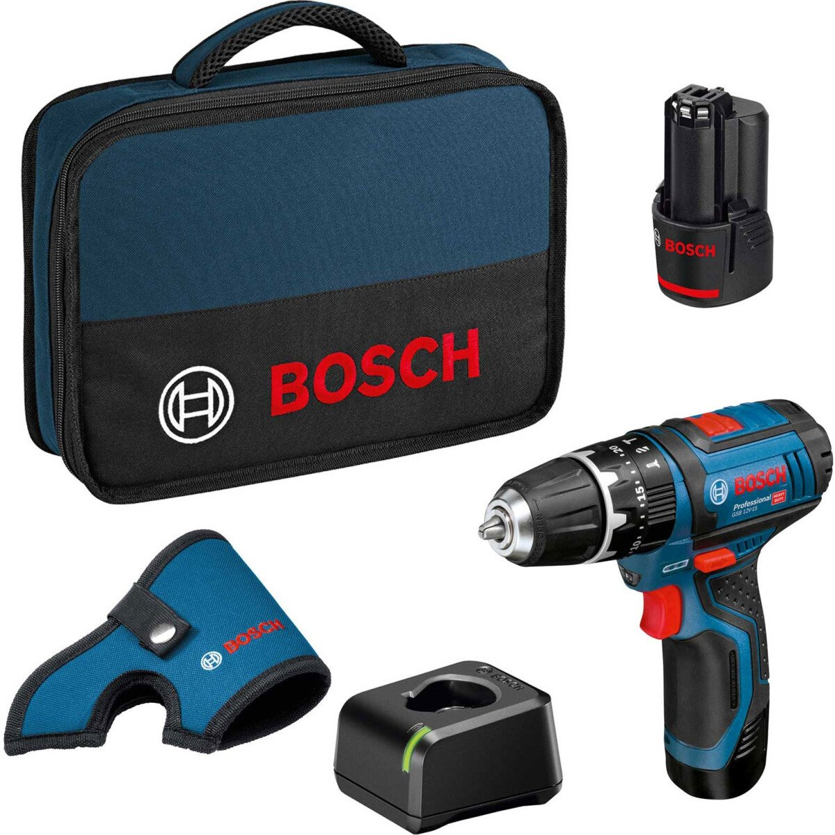 Bosch GSB 12V-15 12v 2 Speed Combi Drill with 2 x 2.0 Ah batteries in Tool Bag
