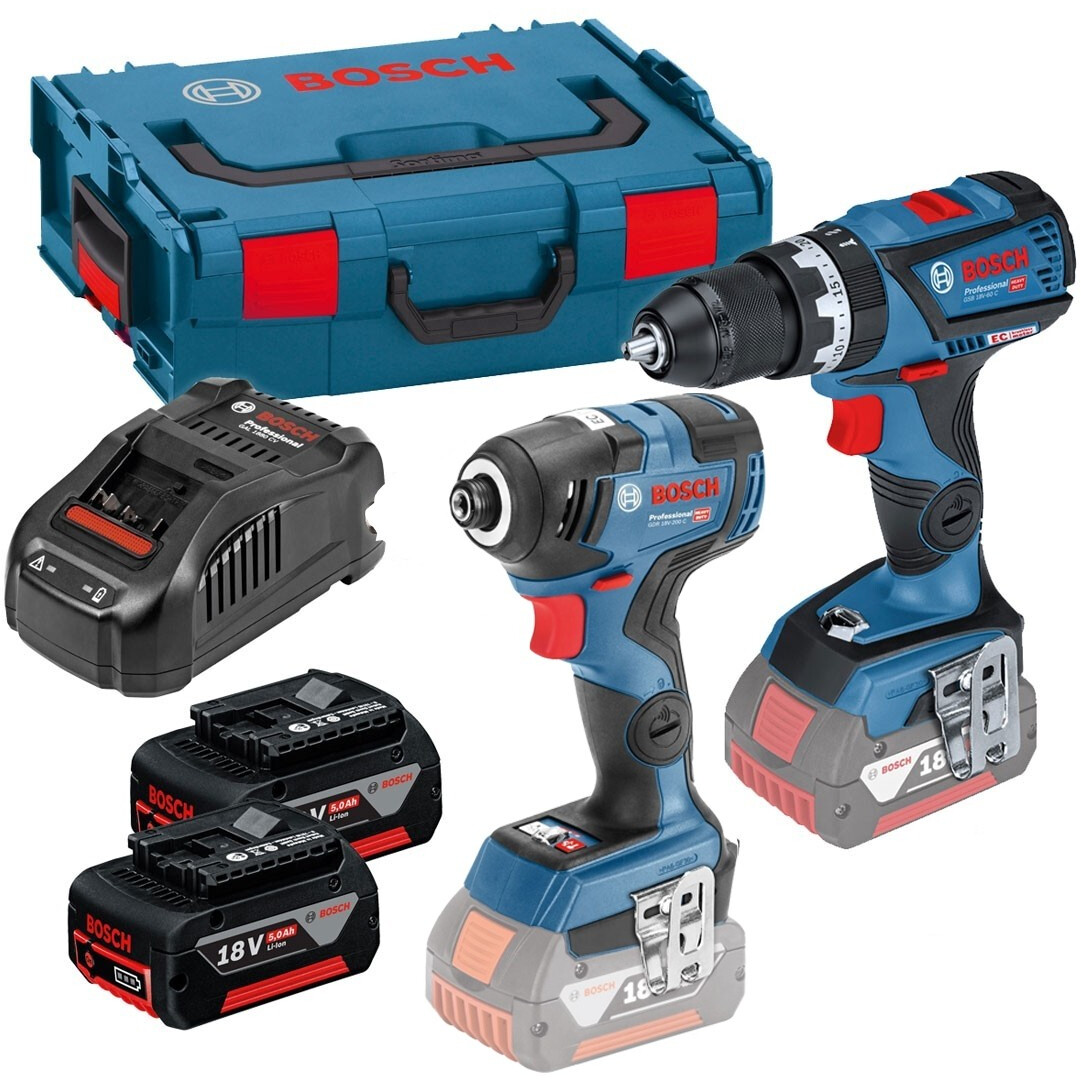 Bosch GSB 18 V-60 C + GDR 18 V-200 C 18v Connected Combi with Impact Driver (2x5.0ah) in L-Boxx
