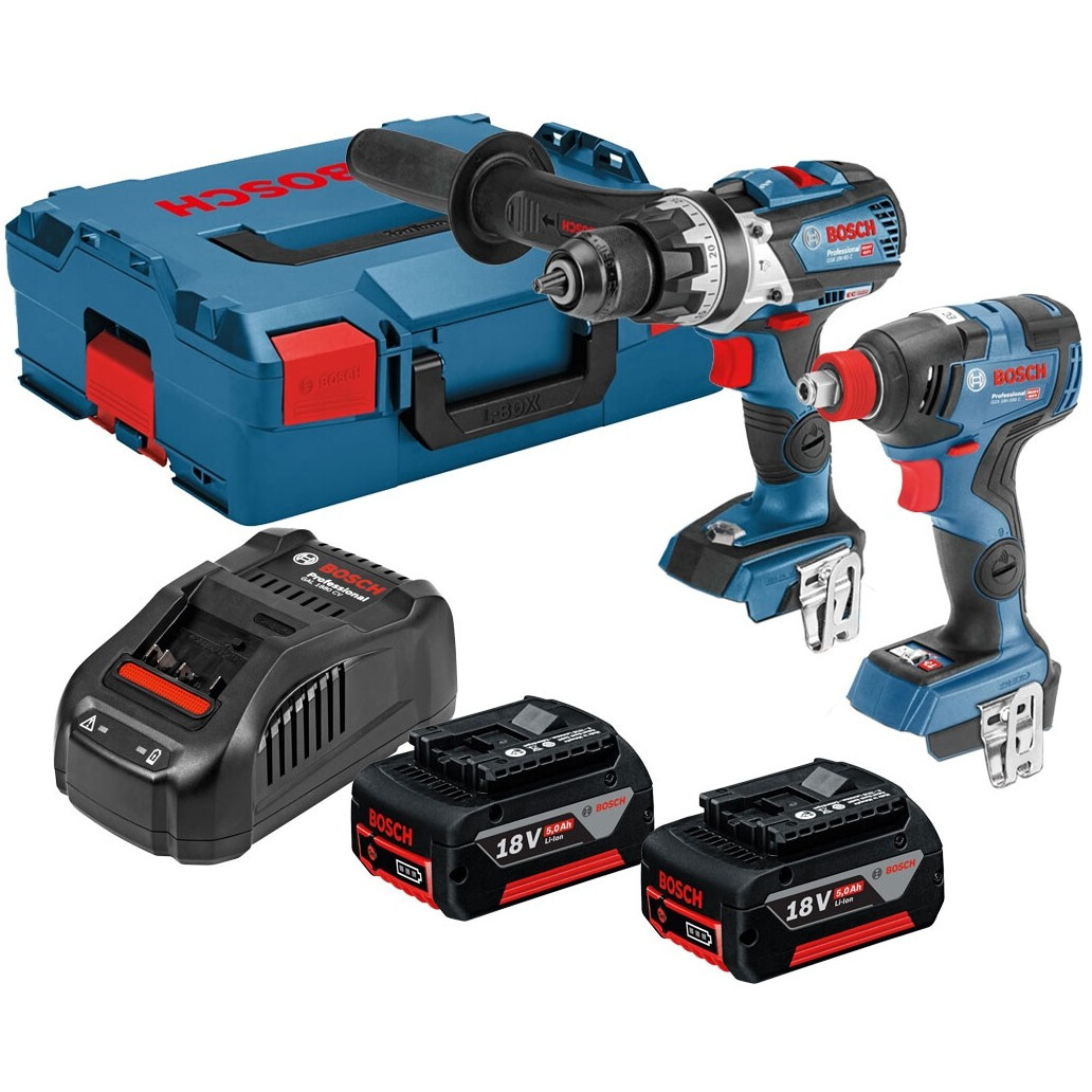 Bosch GSB 18 V-85 C + GDX 18 V-200 C 18v Connected Robust Combi with Impact Wrench (2x5.0ah) in L-Boxx