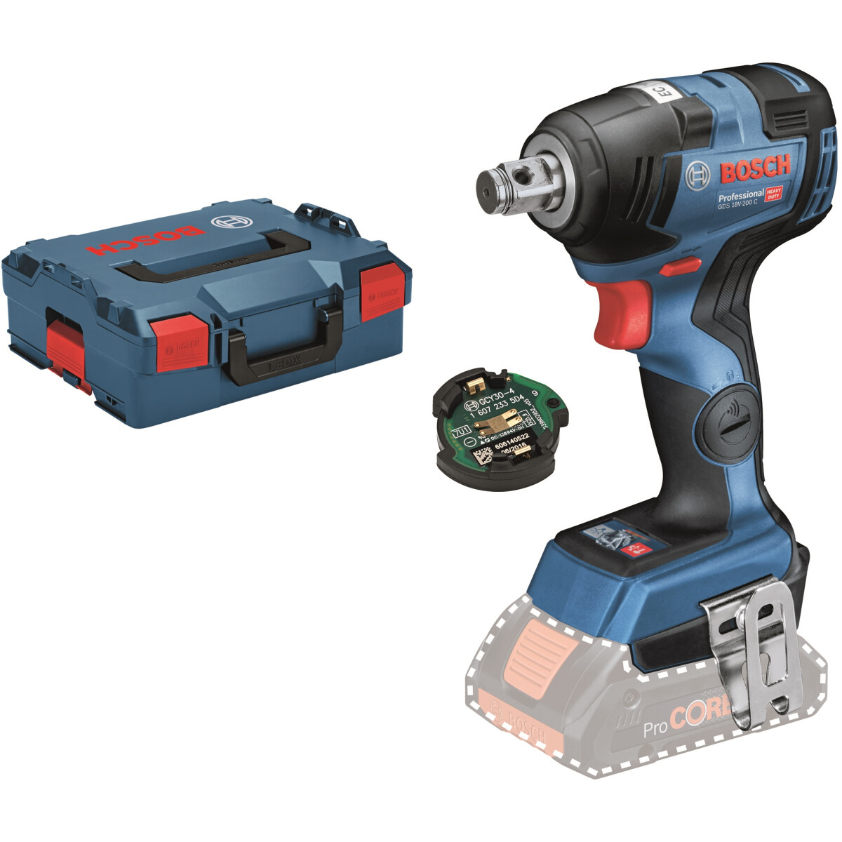 Bosch GDS 18 V-200 C 18v Brushless Impact Wrench (2x4.0 Procore) with Connectivity Module  in L-Boxx