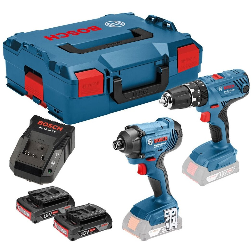 Bosch GSB 18 V-21 + GDR 18 V-160 18V  Combi Drill / Impact Driver Twinpack with 2x2.0Ah Batteries Batteries in L-Boxx