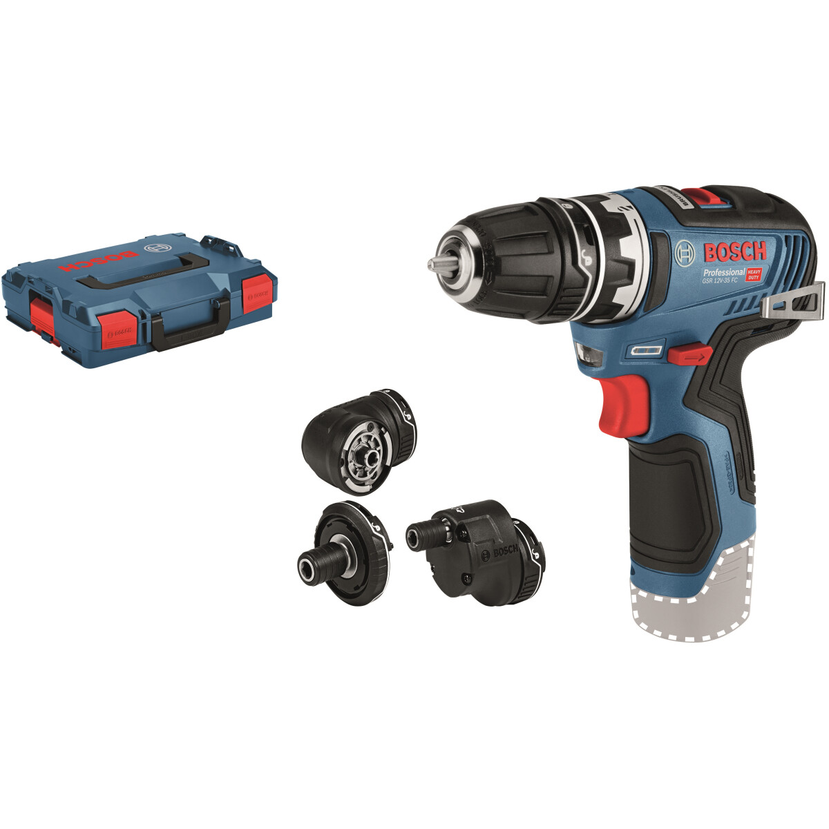 Bosch GSR 12 V-35 12v Body Only Brushless Flexi Click Drill Driver with 4  attachments In L-BOXX