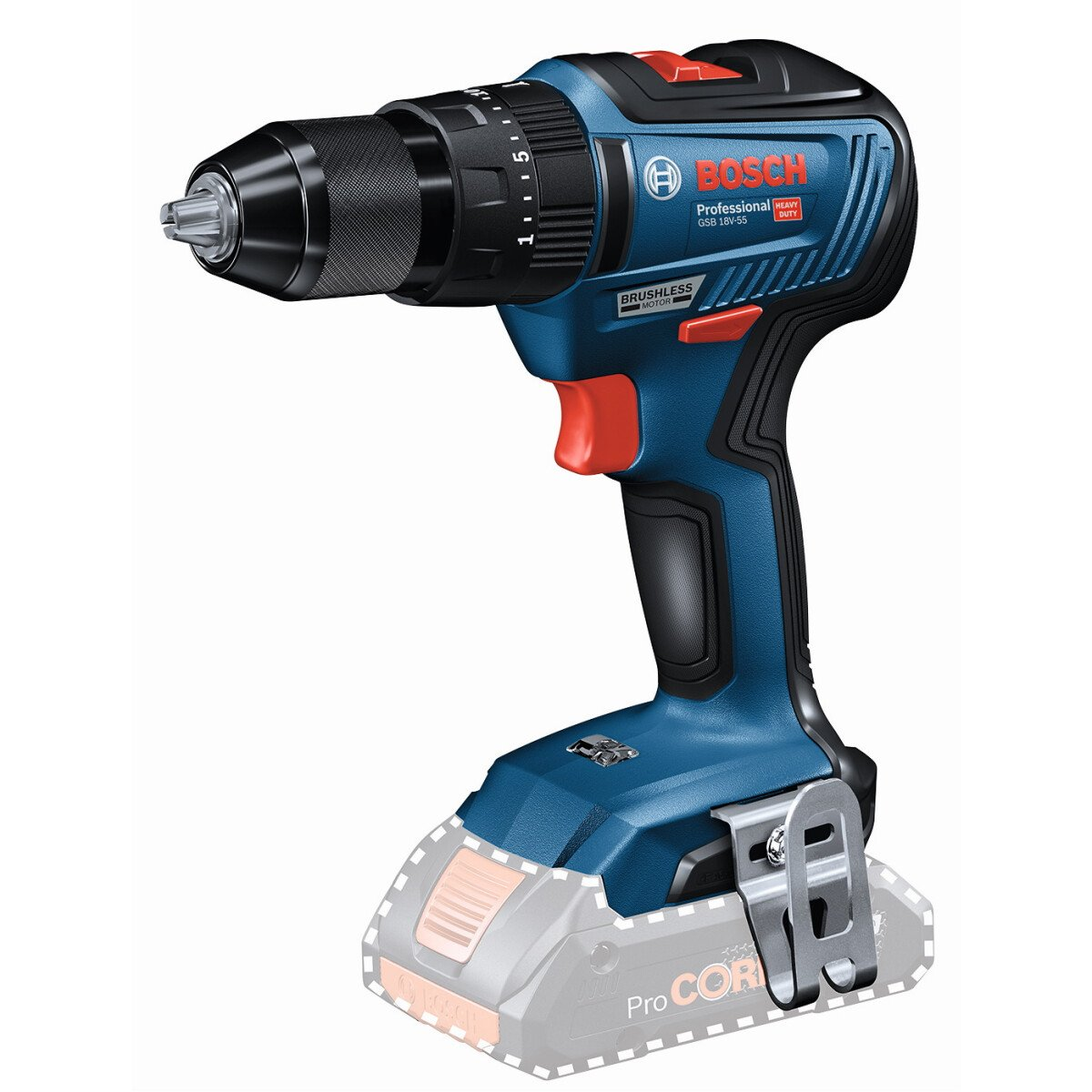 Bosch GSB 18V-55 N 18V Body Only Brushless 2 Speed Combi Drill with Metal Chuck in Carton Connection Ready
