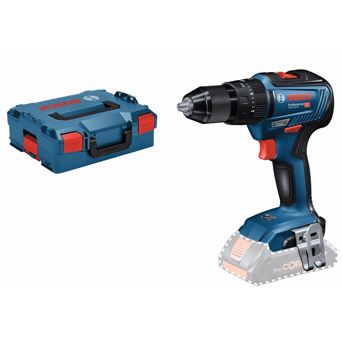 Bosch GSB 18V-55 NCG 18v Body Only 2 Speed Connection Ready Combi Drill with Metal Chuck in L-Boxx
