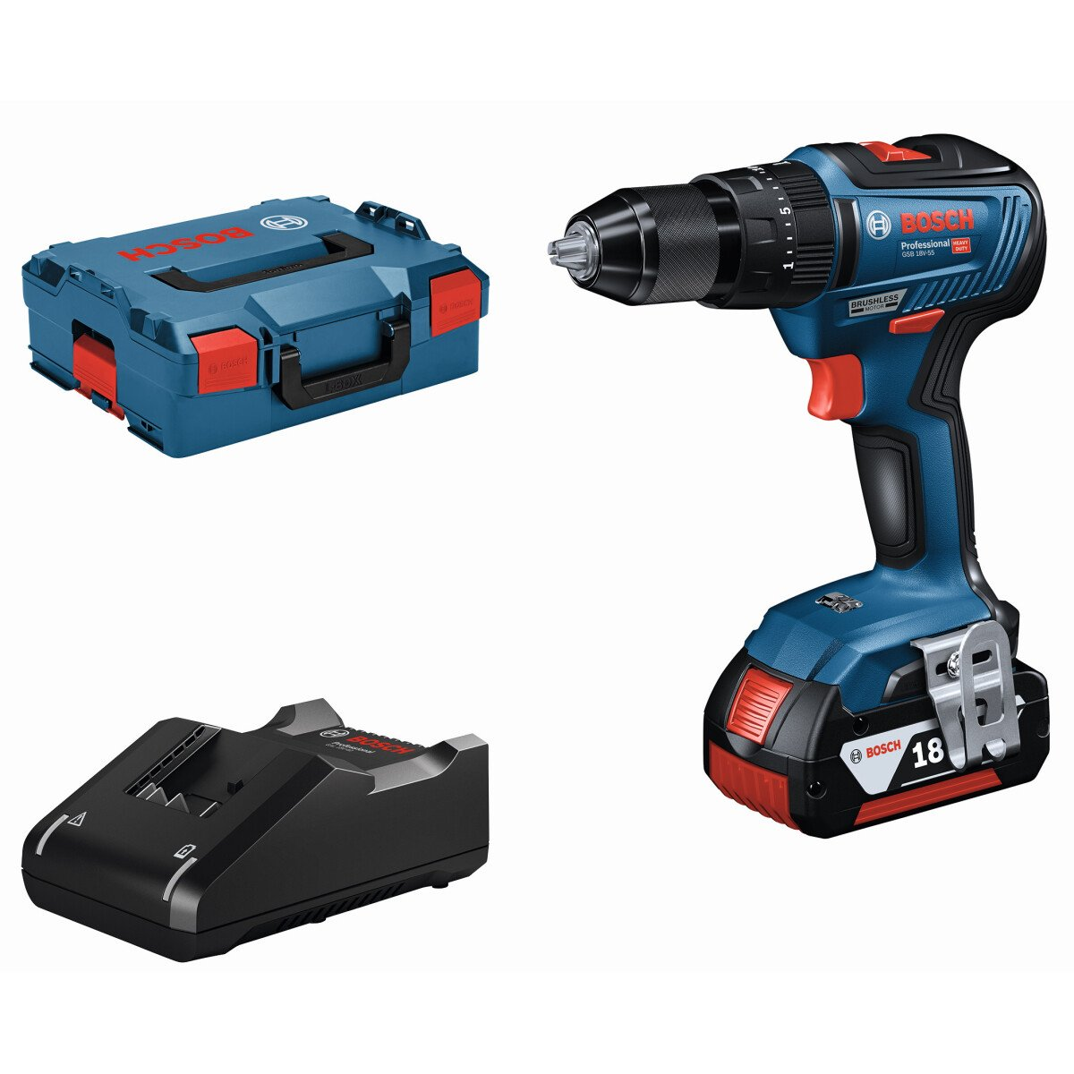 Bosch GSB 18V-55 18V Brushless 2 Speed Combi Drill with Metal Chuck 2x2.0Ah Batteries in L-Boxx Connection Ready