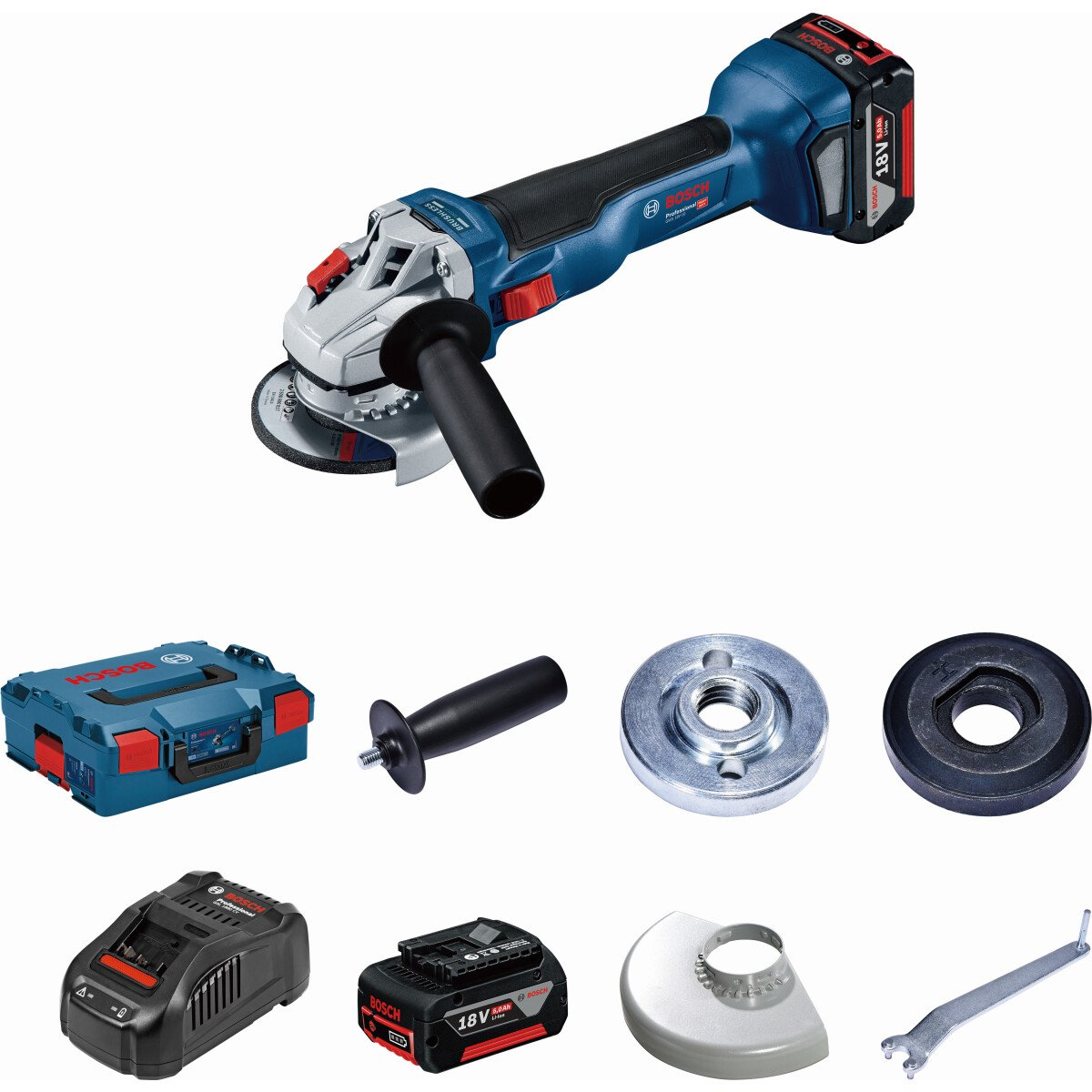 "Bosch GWS 18 V-115 Kit 18V 4 1/2"" / 115mm BRUSHLESS Angle Grinder (2x 4.0Ah) in L-Boxx"