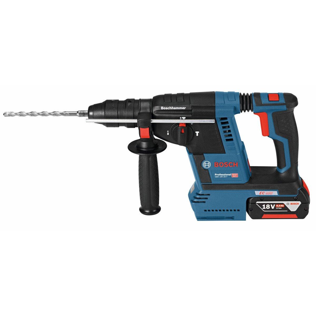 Bosch GBH 18 V-26 F 18V Brushless SDS Hammer with 2x6.0ah Batteries andh GDE 18 V-16 18 V