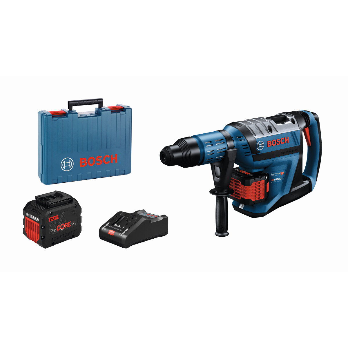 Bosch GBH 18V-45 C 18v BiTurbo Brushless SDS Max Hammer Drill Connection Ready (2x12.0Ah) in Carry Case