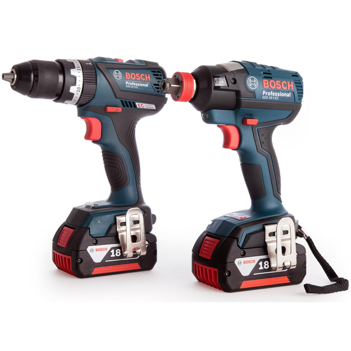 Bosch GSB18 V-60C + GDX18 V-200C 18V Combi Drill With Impact Wrench/Driver with 2x 5.0Ah Batteries in L-BOXX
