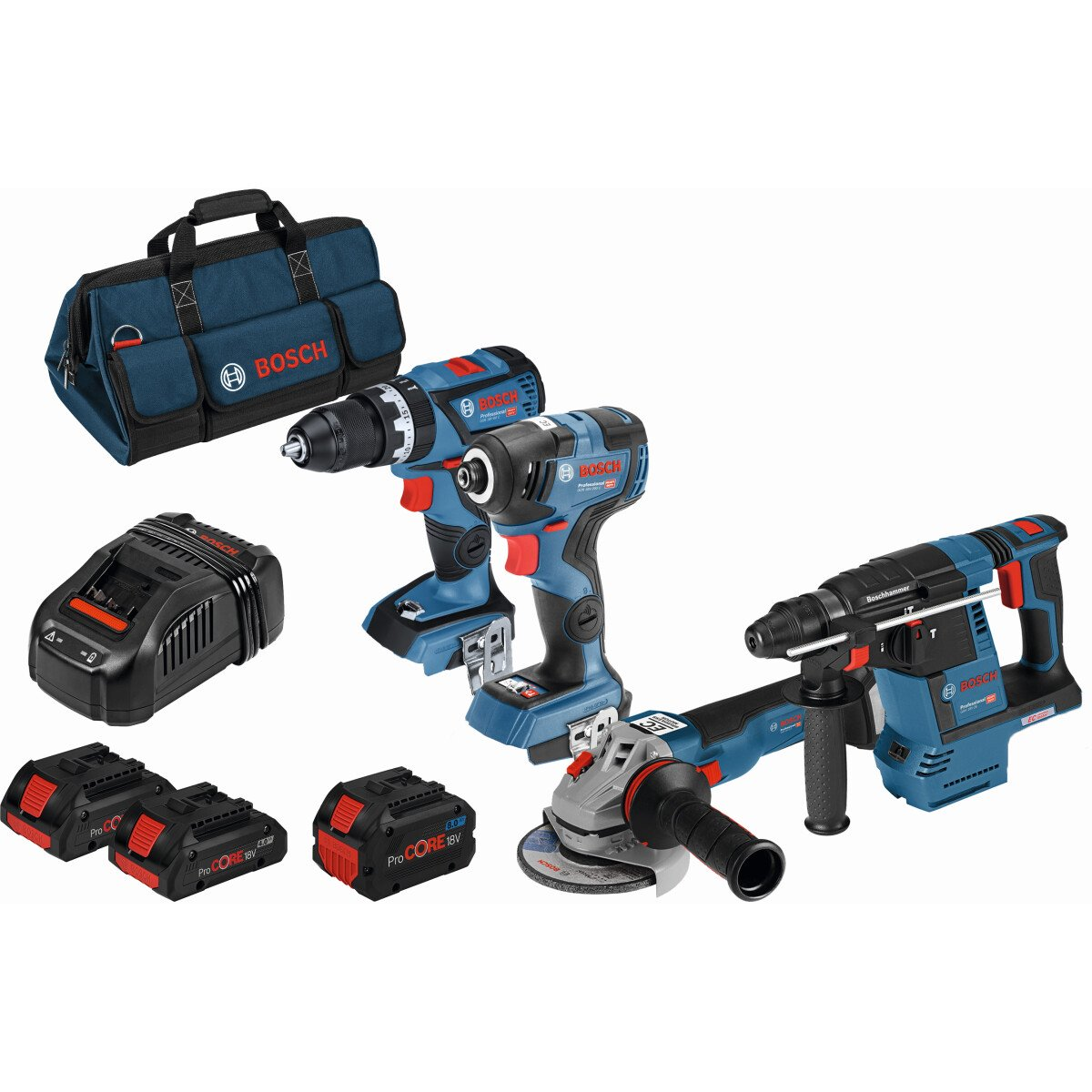 Bosch LBAG64 18v 4pc Kit (1 x 4.0 Ah ProCORE18V + 1x 8.0 Ah ProCORE18V Battery) in Bag