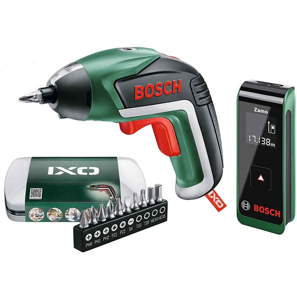 bosch 3.6v ixo v screwdriver and zamo measuring tool twin set from