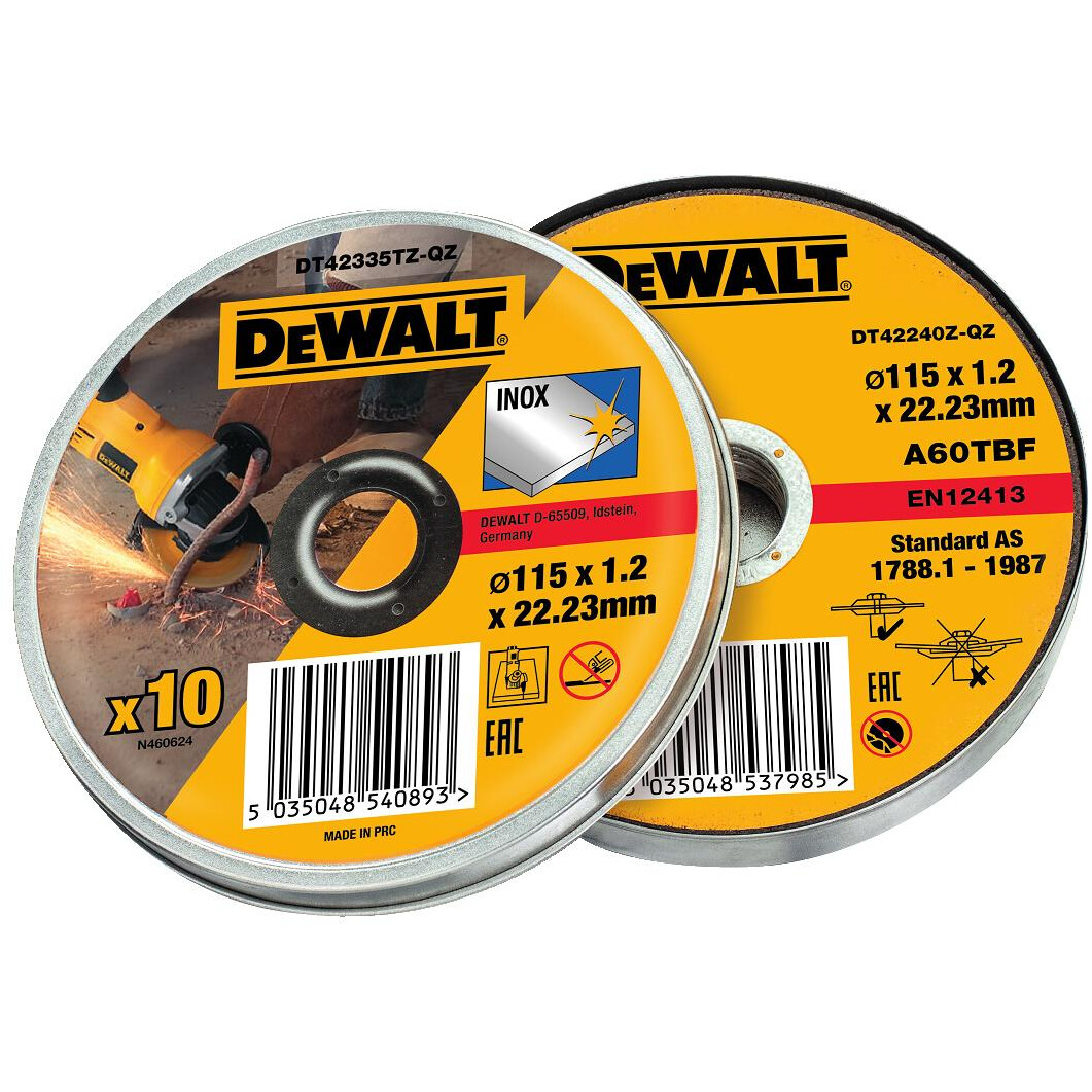 DeWalt DT42335TZ-QZ Abrasive Disc 115 x 1.2mm Thin Cut INOX 10pcs Tin