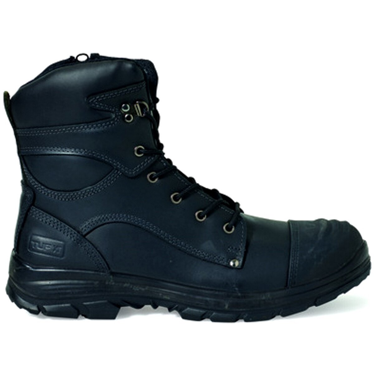 Tuf 100207 Marshall 8.5'' Hi-Leg Zip Black Leather S3 WRU HRO SRC Safety Boot with Midsole