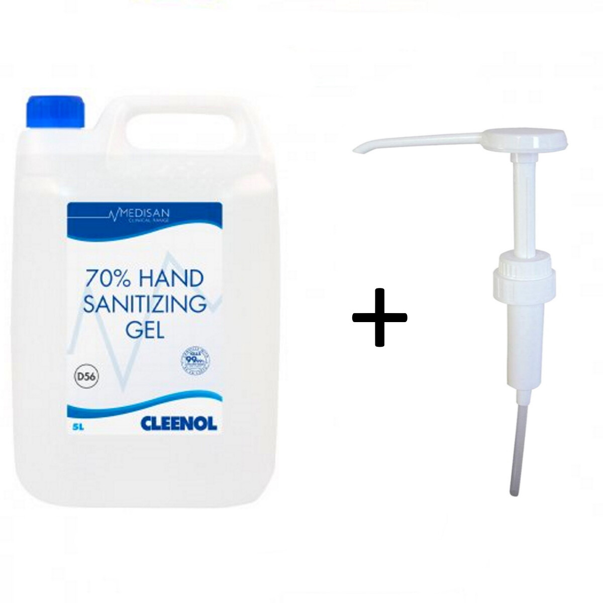 Medisan 077123  70% Hand Sanitizing Gel - 5ltr Container with 974390 Hand Pump