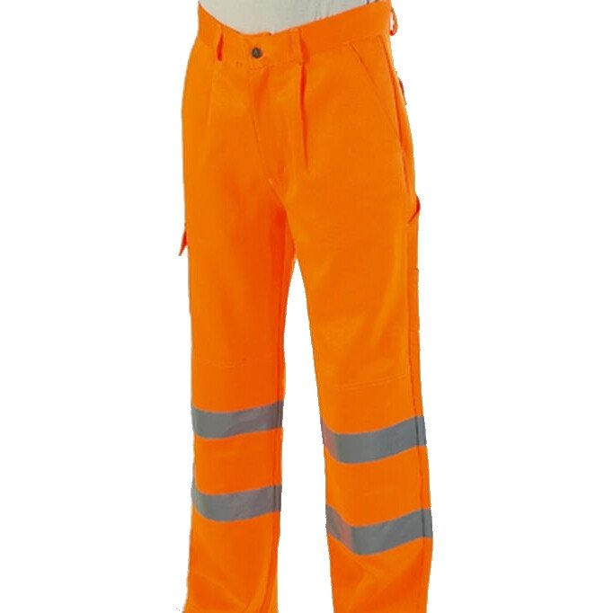 "Warrior Hi Vis Delray Trousers High Visibility - Orange-32"" Tall"