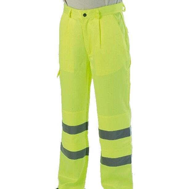 "Warrior Hi Vis Delray Trousers High Visibility - Yellow-32"" Tall"