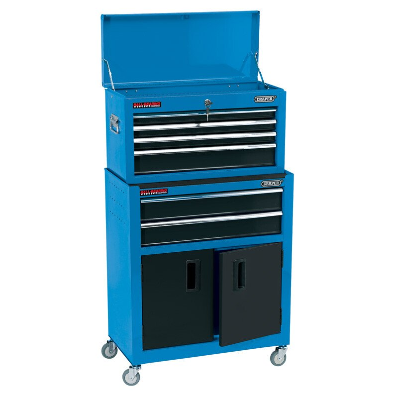 """Draper 19563 RCTC6/B 24"""" Combined Roller Cabinet And Tool Chest (6 Drawer)"""