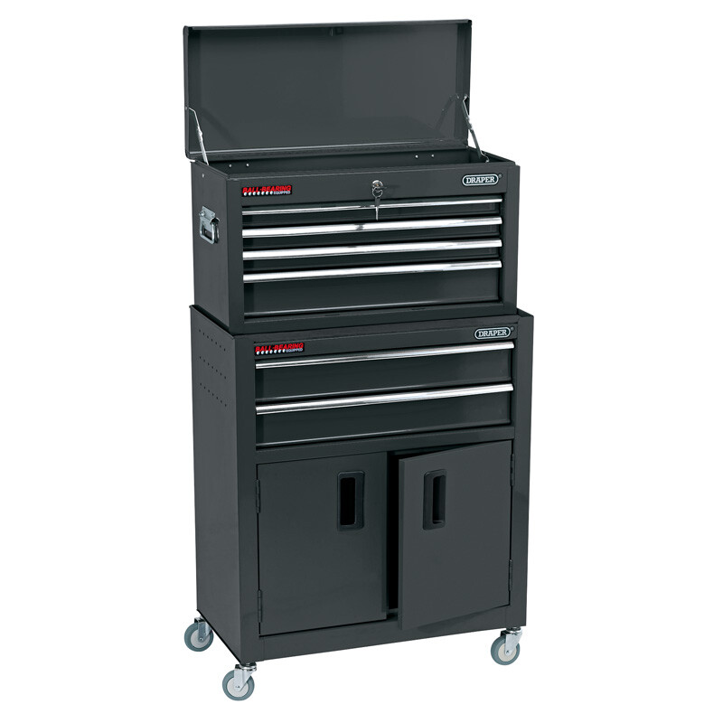 """Draper 19572 RCTC6/BK 24"""" Combined Roller Cabinet And Tool Chest (6 Drawer)"""