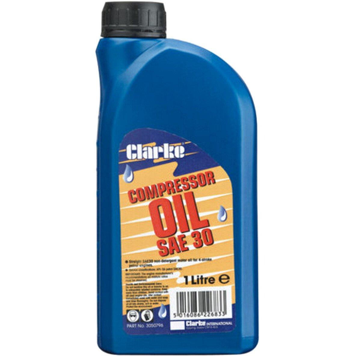 Clarke 3050796 SAE 30 Long Life Compressor Oil 1 Litre