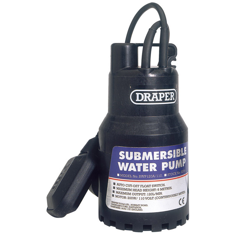 Draper 52064 SWP120A/110 120 L/Min 200w 110V Submersible Water Pump with 6M Lift & Float Switch