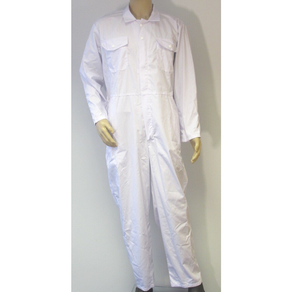 "NG5OZa 54"" White Zip Front Coverall PolyCotton (Special Size, See Detail Below)"