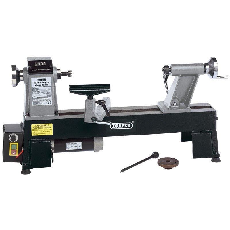 Draper 60989 WTL457 550W 230V Digital Variable Speed Wood Lathe Compact