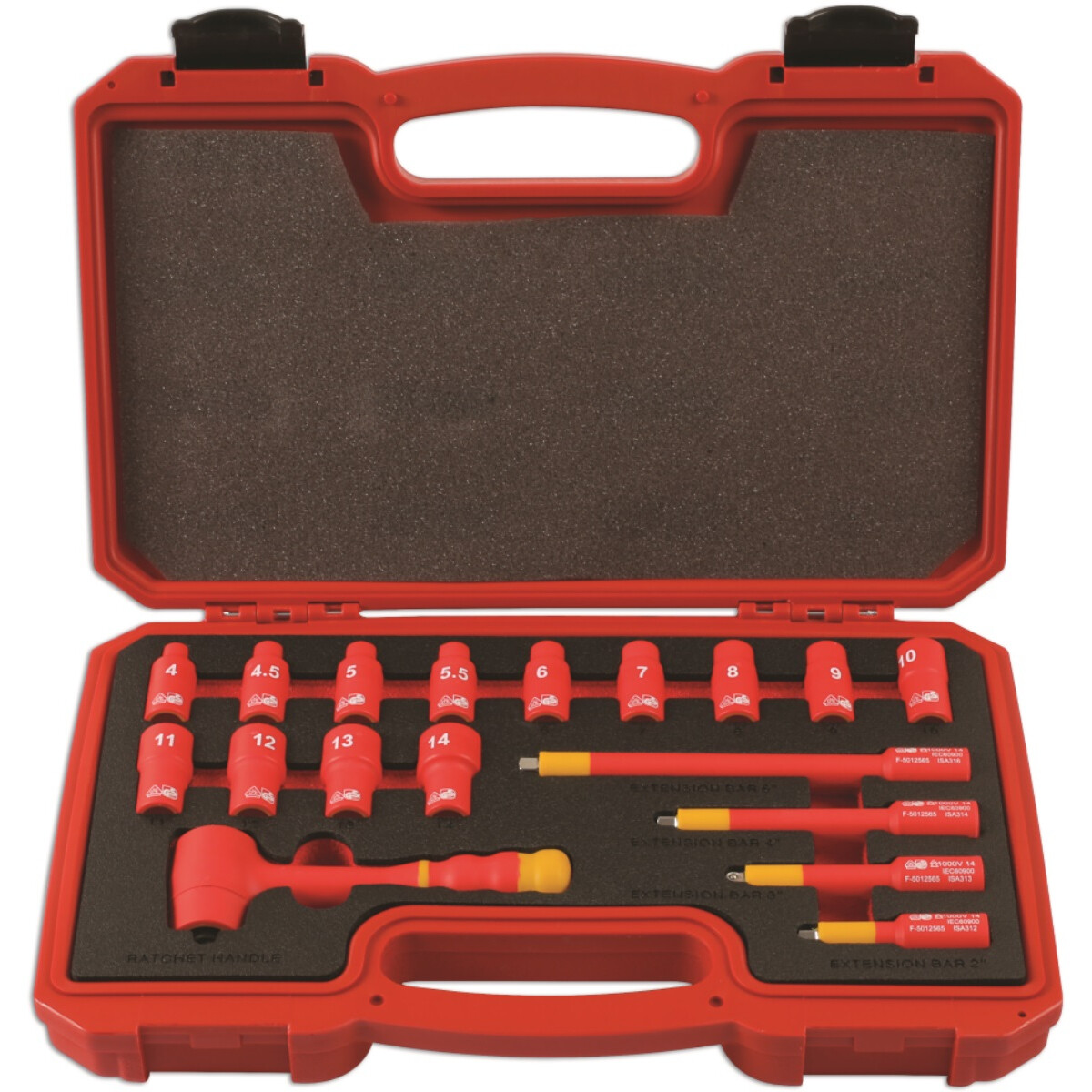 """Laser 6145 Insulated Socket Set 1/4"""" Drive 18 Piece"""