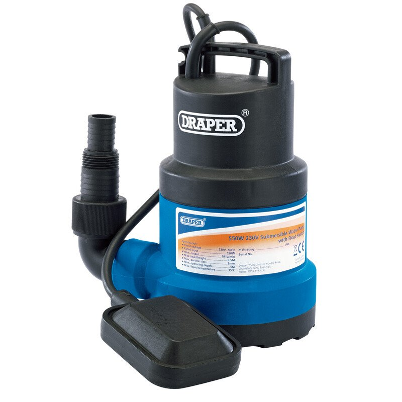 Draper 61584 SWP200 Submersible Water Pump with Float Switch (191L/Min)