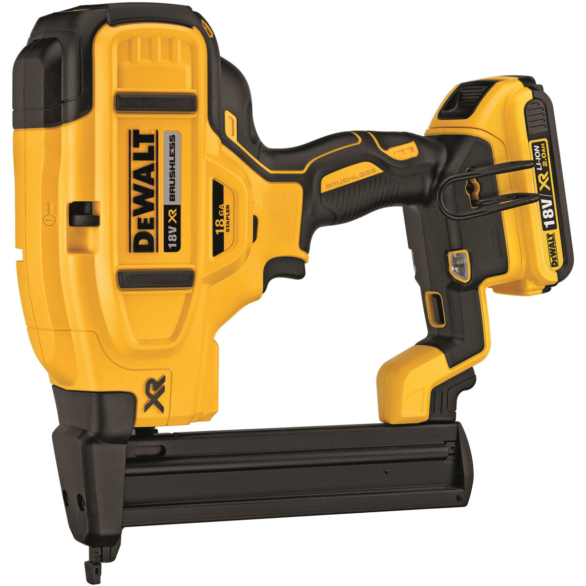 Dewalt DCN681D2 18V Cordless XR Brushless 18Ga Narrow Crown Stapler with 2 x 2.0Ah Batteries in HD Kit Box