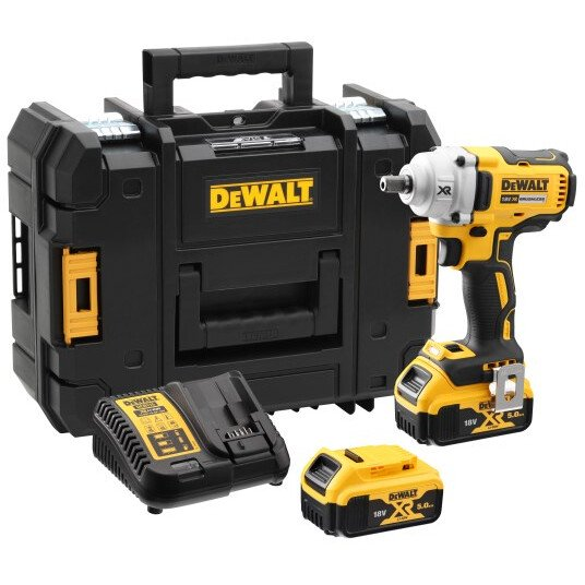 """DeWalt DCF894P2-GB 18V XR 1/2"""" Brushless Compact High Torque Impact Wrench 450Nm with 2 x 5.0Ah Batteries in TSTAK Case"""