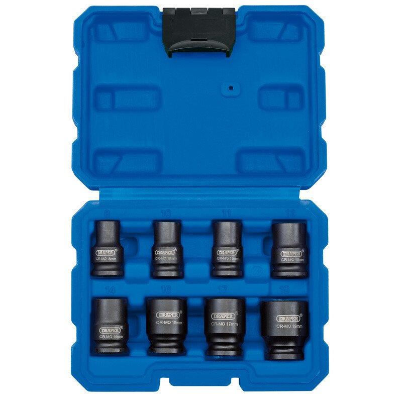 "Draper 83089 409/8/MM 3/8"" Sq. Dr. Metric Impact Socket Set (8 Piece)"