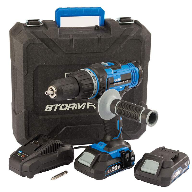 Draper 89523 CHD20SF Storm Force® 20 V Cordless Hammer Drill With Two Li Ion Batteries