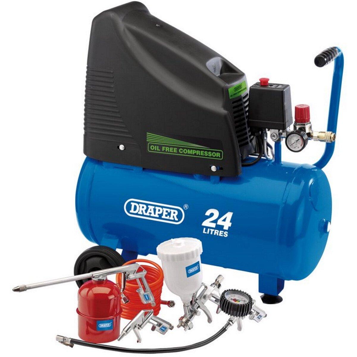 Draper 90126 DA25/19/K 230V 24L Oil Free Compressor and Air Tool Kit