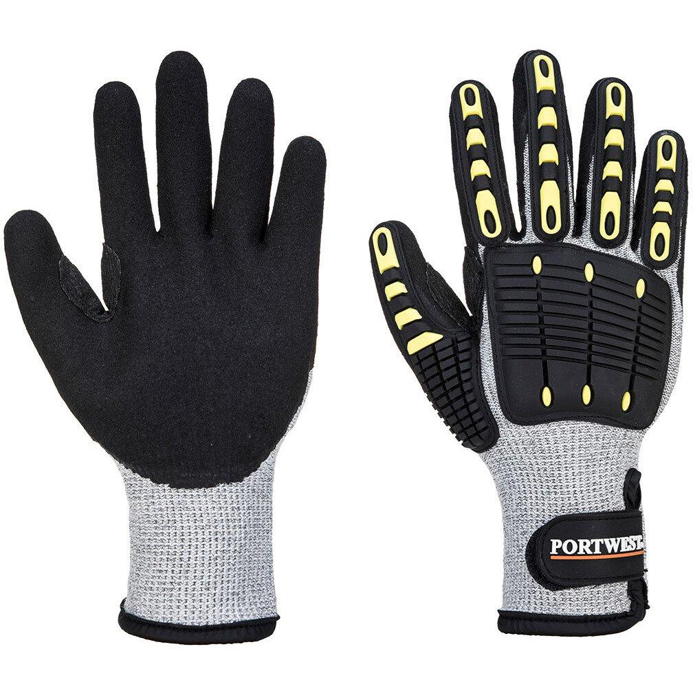 Portwest A729 Anti Impact Cut Resistant Thermal Glove - Grey/Black