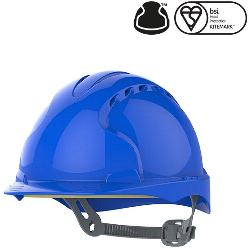 JSP Evo 2 Vented Standard Peak One Touch Blue Safety Helmet