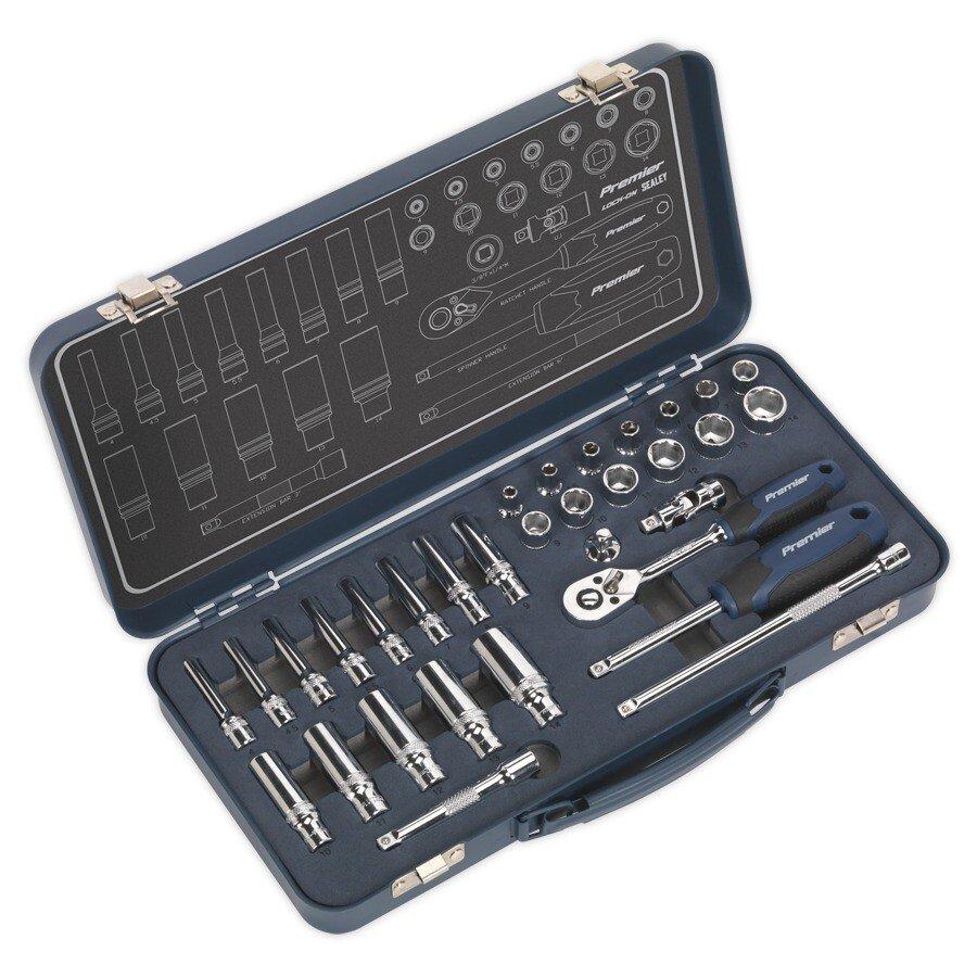 """Sealey AK27480 Socket Set 32pc 1/4""""Sq Drive Lock-On™ 6pt Metric"""