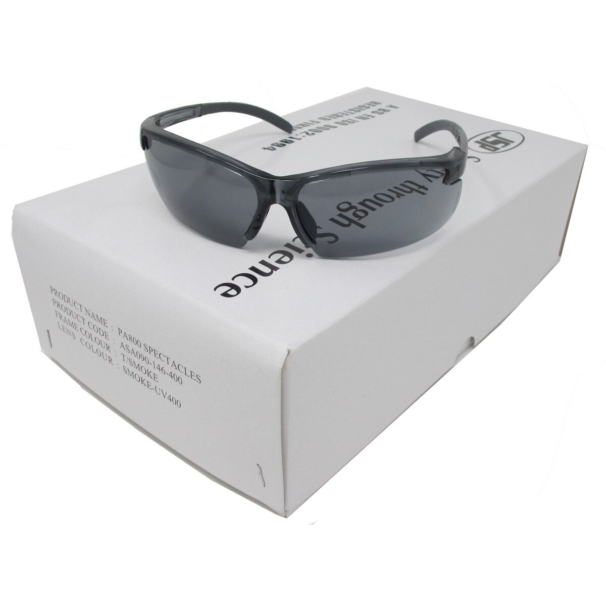 JSP ASA090-146-400 Panorama 800 Safety Spectacles with Smoke Tinted Lenses (Box of 10 pairs)
