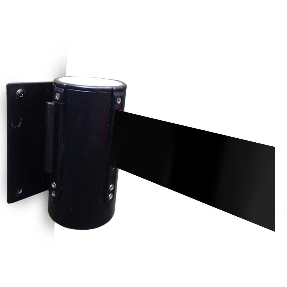 JSP HDB801-200-500 Black Retractable Wall Mounted Belt Barrier and Wall Bracket